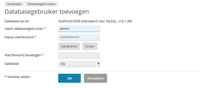Aanmaken database gebruiker in Plesk