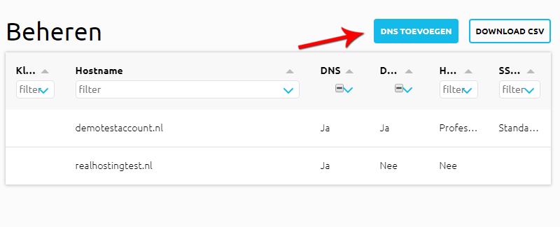 DNS Toevoegen knop in RealCloud