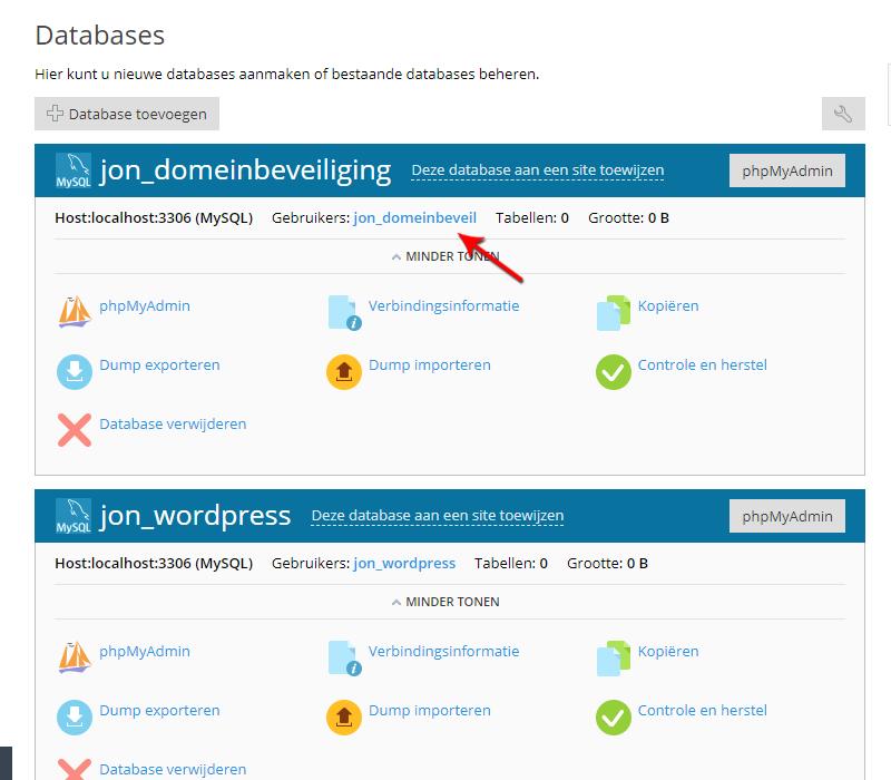 Database gebruiker in Plesk