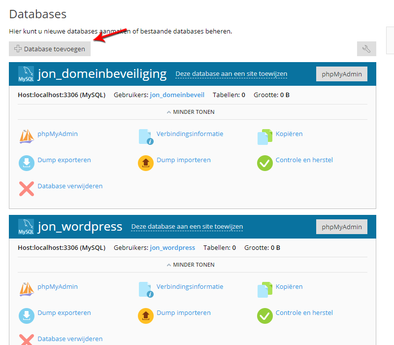 Database toevoegen