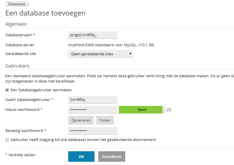 Database toevoegen in Plesk