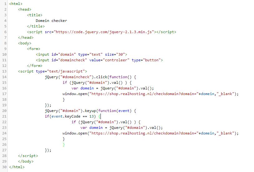 Met deze code kan je domein checker toevoegen aan jouw website