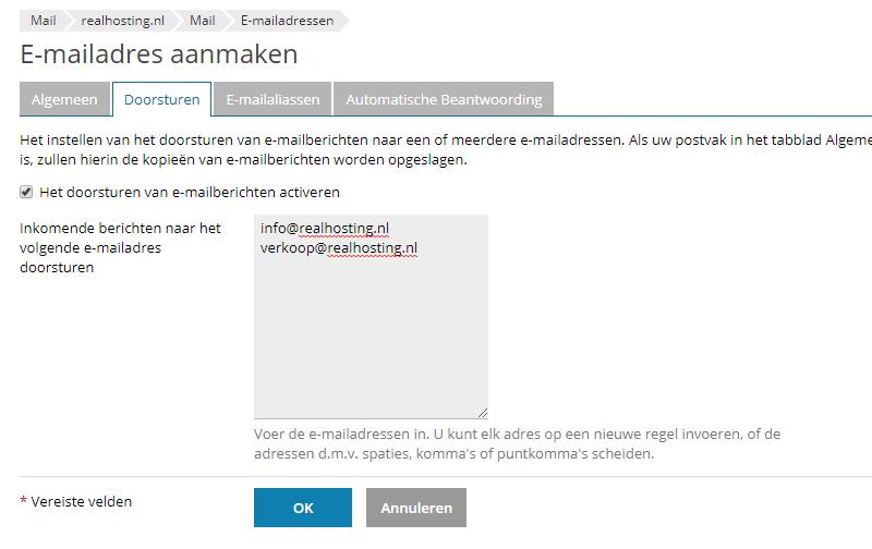 E-mail doorstuur aanmaken in plesk