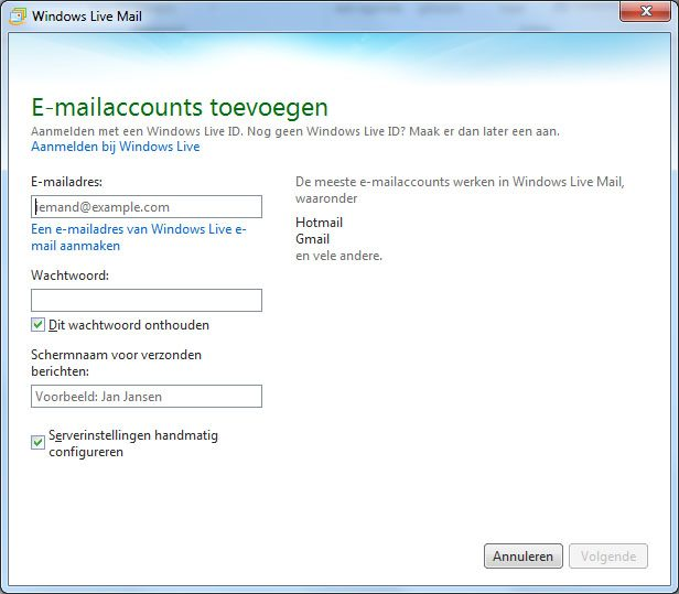 E-mail instellen Windows Live Mail stap 2