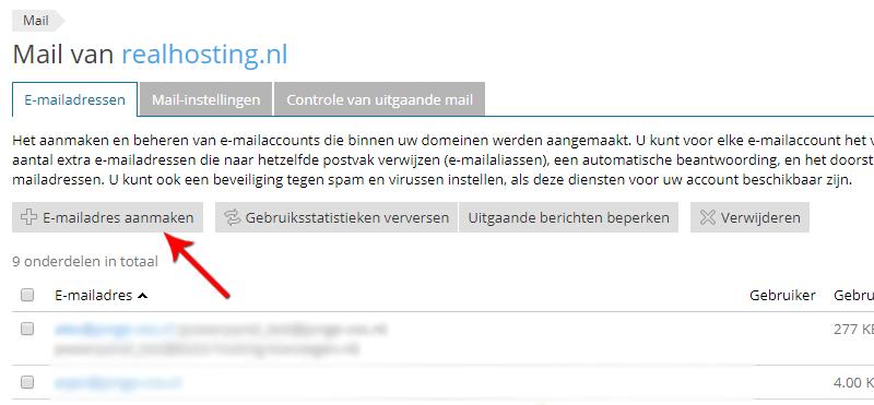 E-mailadres aanmaken in Plesk