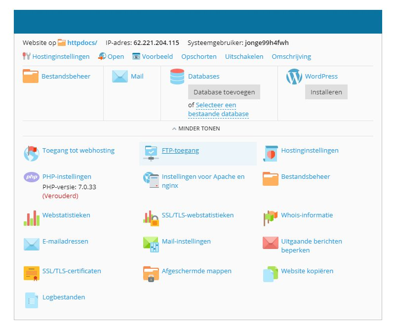 FTP-toegang in Plesk beheren