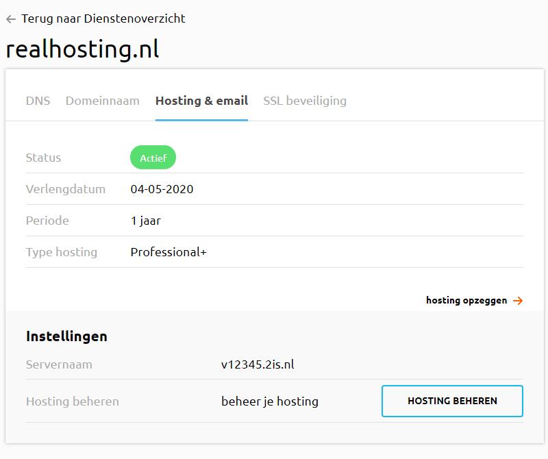 Hosting en email in controle paneel