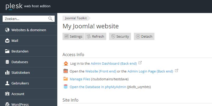 Inloggen Joomla site via Joomla Toolkit