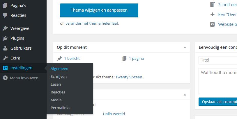 Instellingen WordPress