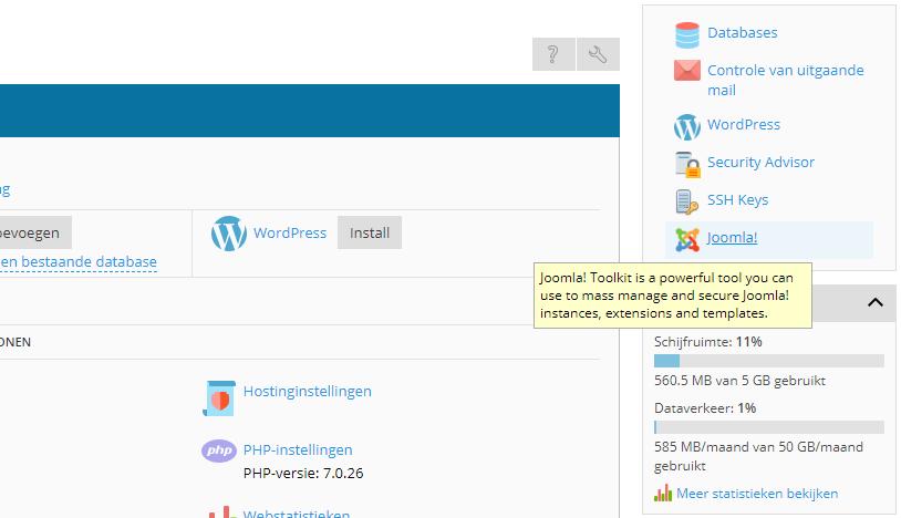 Joomla Toolkit openen
