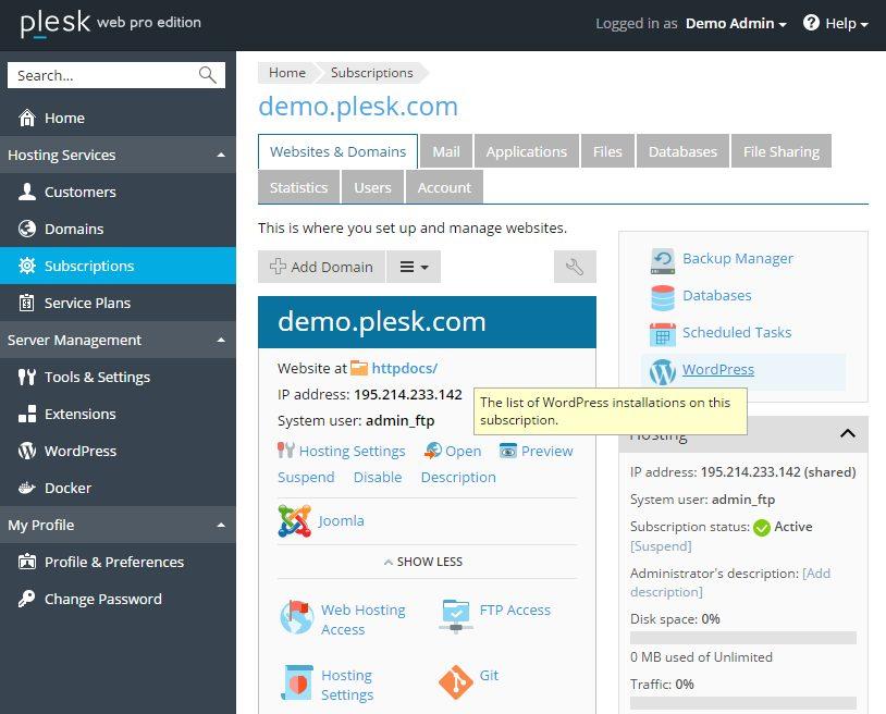 Voorbeeld van een hostingpakket binnen Plesk 17