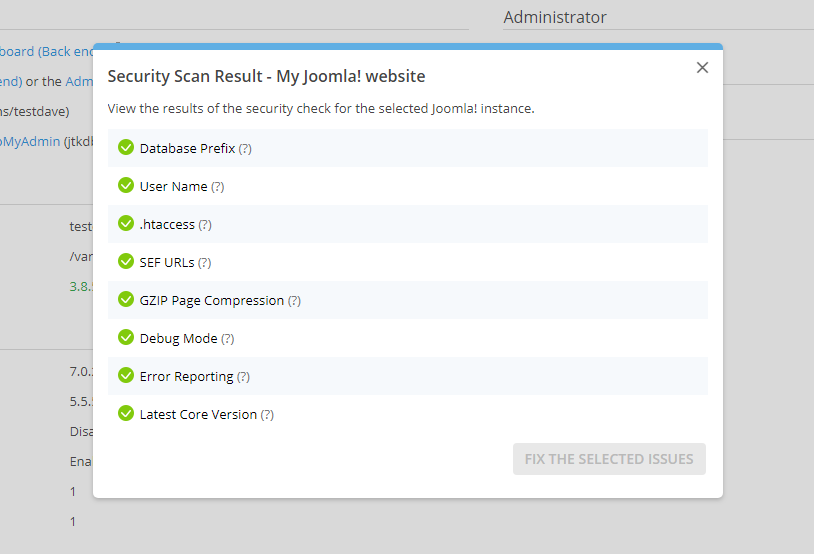 Security Scan Result Joomla