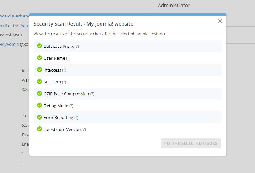 Security Scan Result Joomla