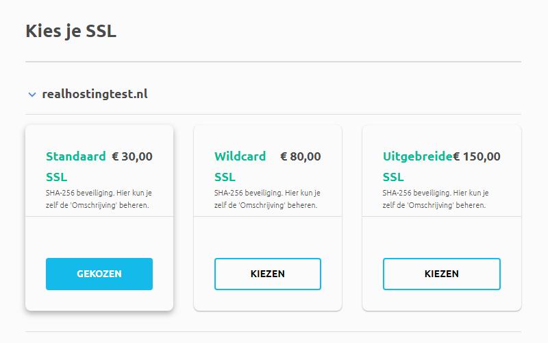Standaard SSL bestellen