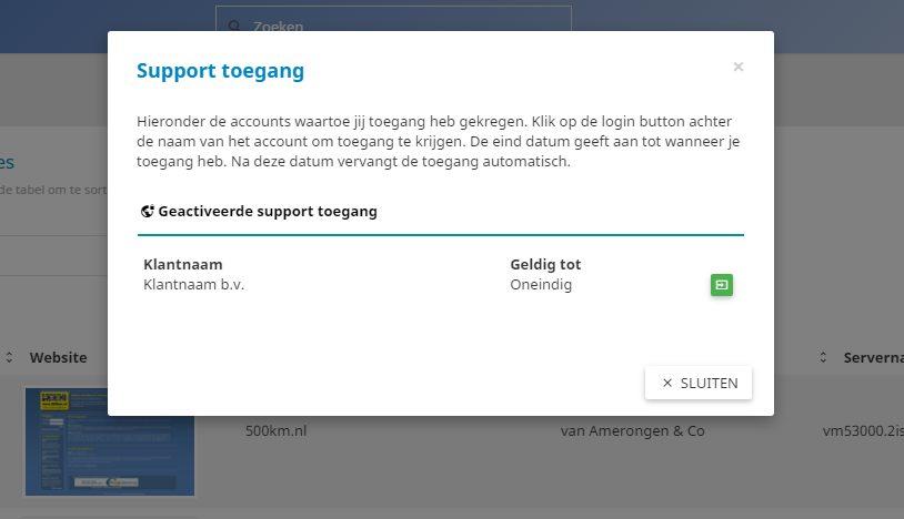 Toegang tot een ander controle paneel account
