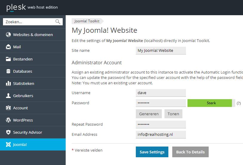 Administrator wachtwoord Joomla wijzigen via Joomla Toolkit
