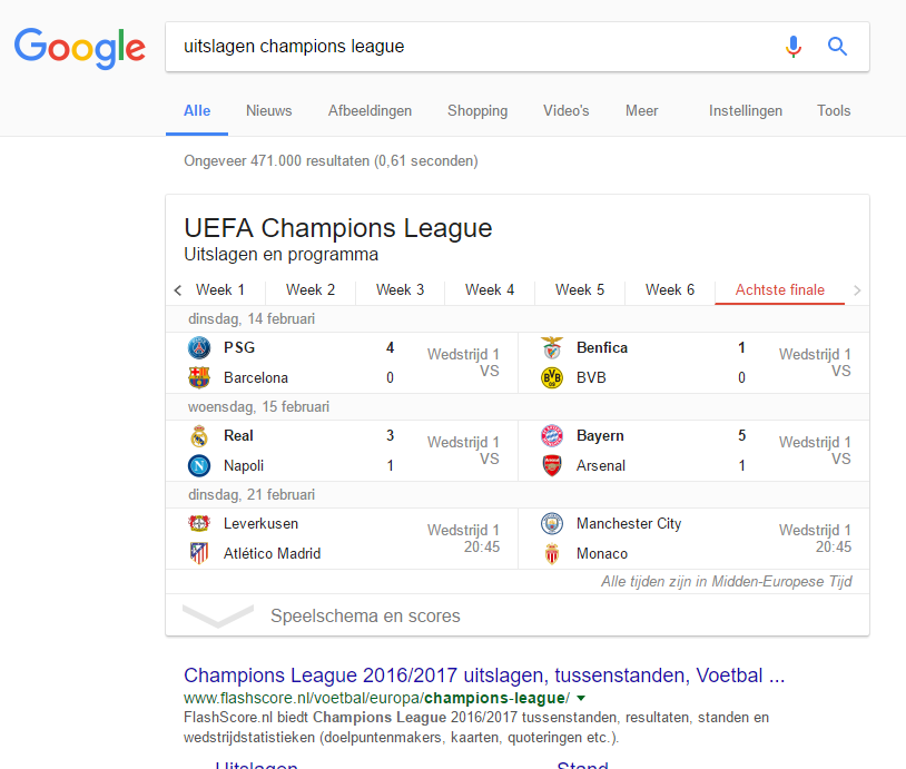 Featured snippets tabel
