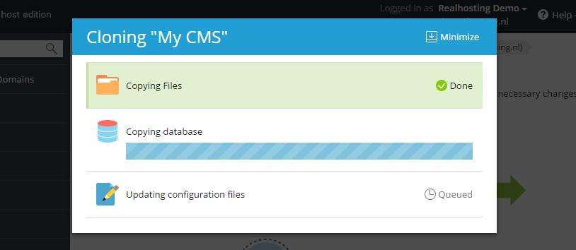 Het klonen van een WordPress installatie bezig