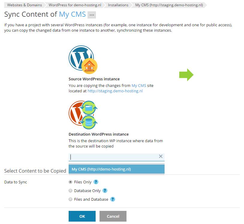 Het synchorniseren van een WordPress installatie