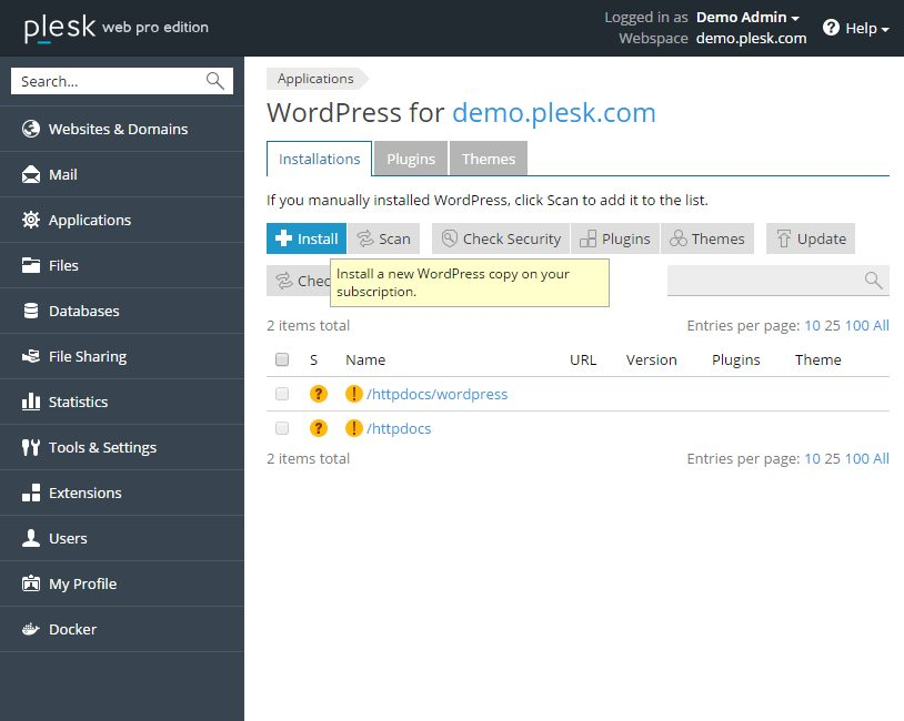 Installeer WordPress met één muisklik deel 1