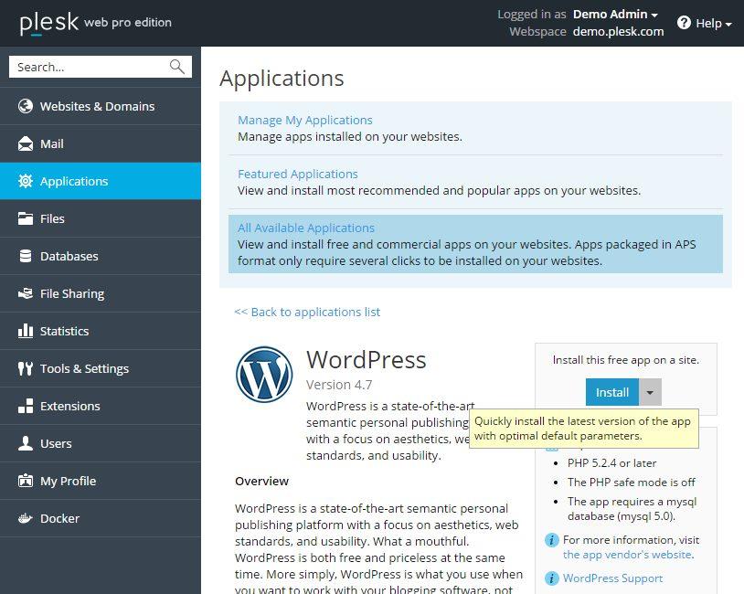 Installeer WordPress met één muisklik deel 2