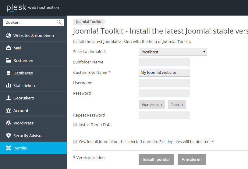 Joomla installatie configureren via de Joomla Toolkit