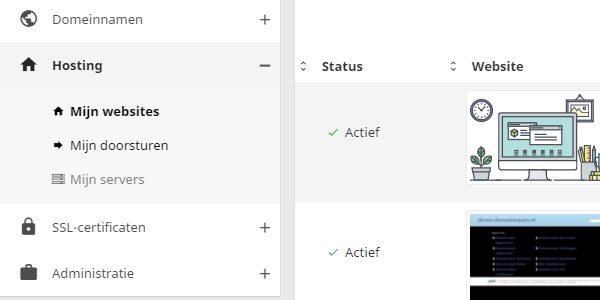 Klik op 'Hosting' en vervolgens op de website waarvan je de prestaties wilt meten.