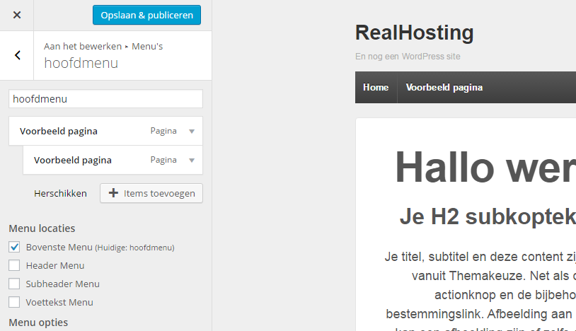 Menu aanpassen in Customizer