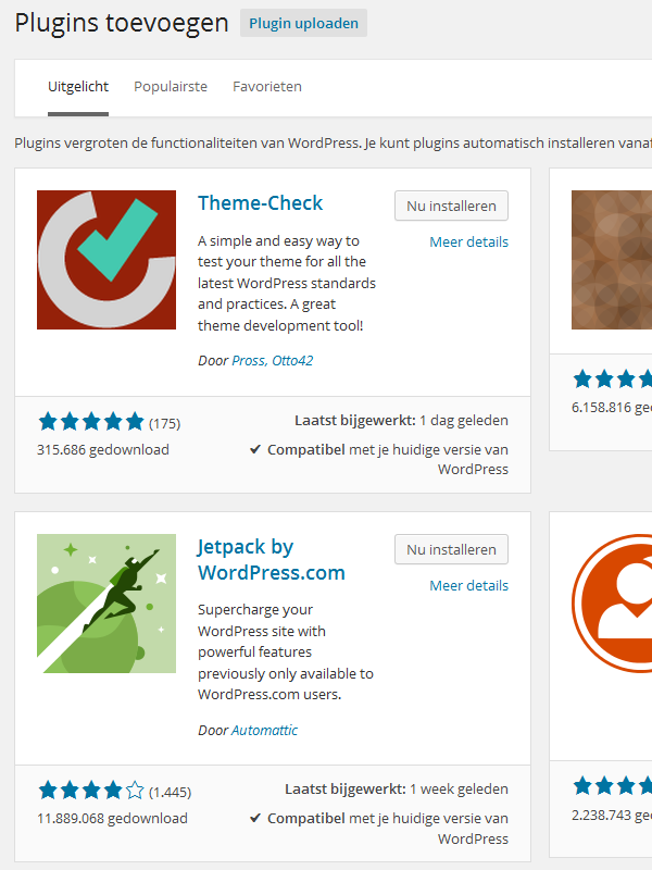 Plugins zoeken in WordPress 4.0