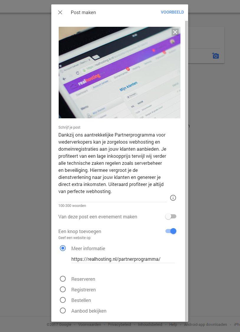 Post maken binnen Google Mijn Bedrijf