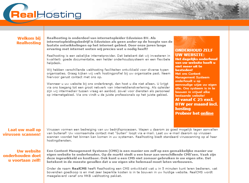 Website RealHosting mei 2003