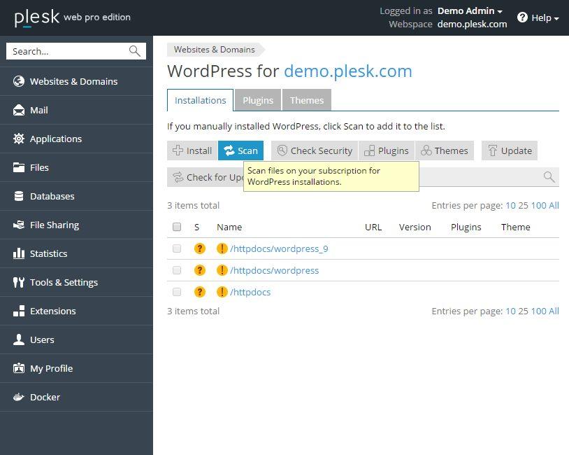 Scan voor bestaande WordPress installaties deel 1