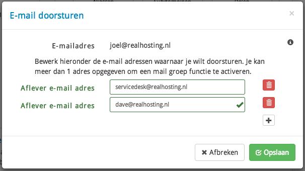E-mail doorsturen beheren