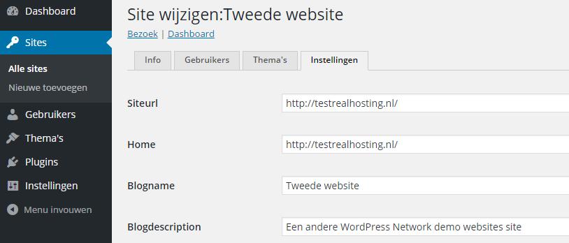 Site wijzigen binnen WordPress Network