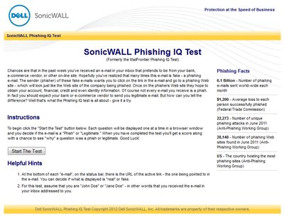 SonicWALL Phishing IQ Test