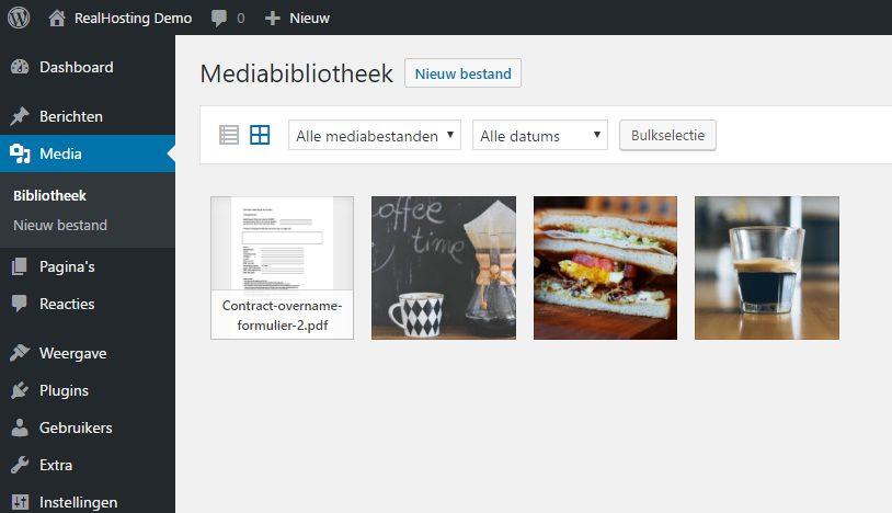 Thumbnails voor PDF binnen media bibliotheek
