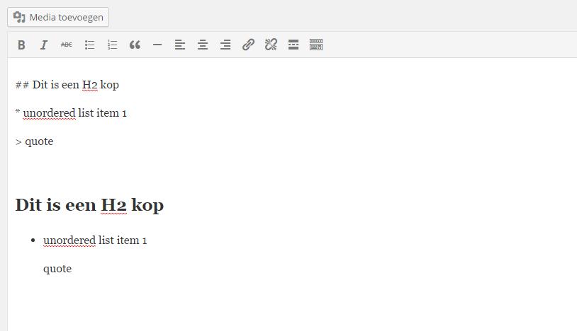 Toevoeging sneltoetsen in editor