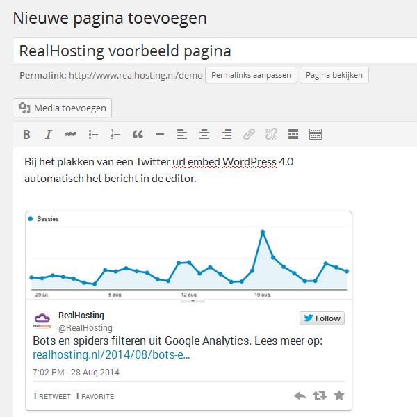 Twitter url embedden in WordPress 4.0