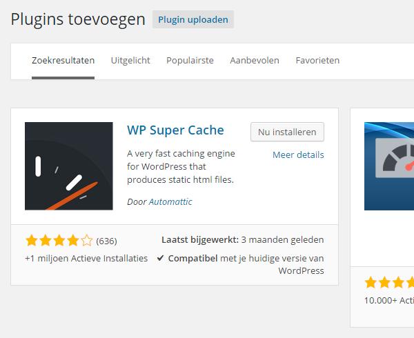 WP Super Cache binnen plugin directory