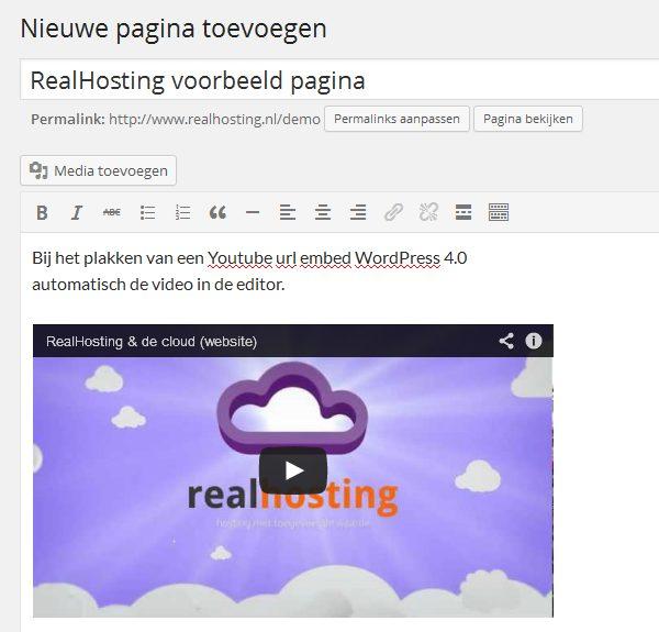 Youtube url embedden in WordPress 4.0