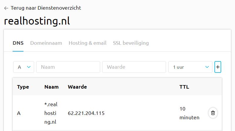 IP-adres van de server in het controle paneel