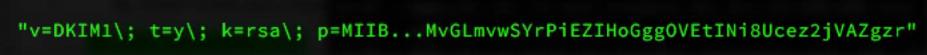 Voorbeeld van een DKIM record