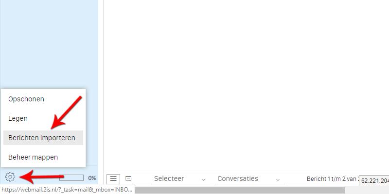 Berichten importeren in Webmail Roundcube