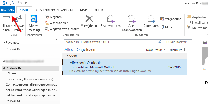 Bestand in Microsoft Outlook