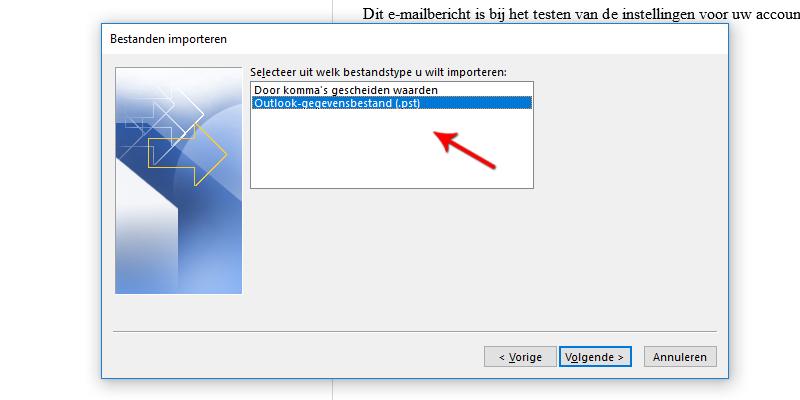 Bestanden importeren Microsoft Outlook 2013