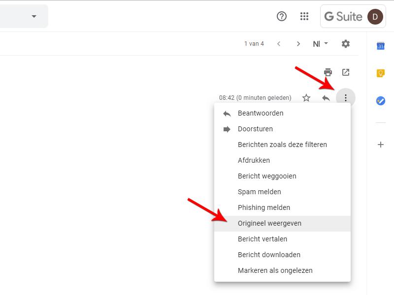 E-mailheader bekijken in Gmail