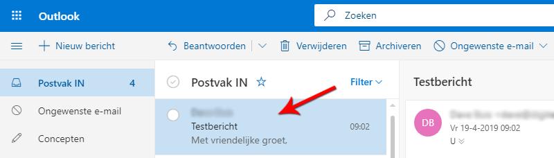 E-mailheader bekijken in Hotmail Live