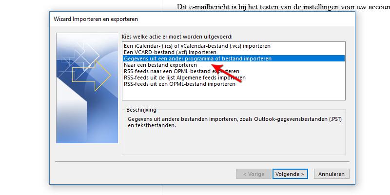 Gegevens uit een ander programma of bestand importeren Microsoft Outlook 2013