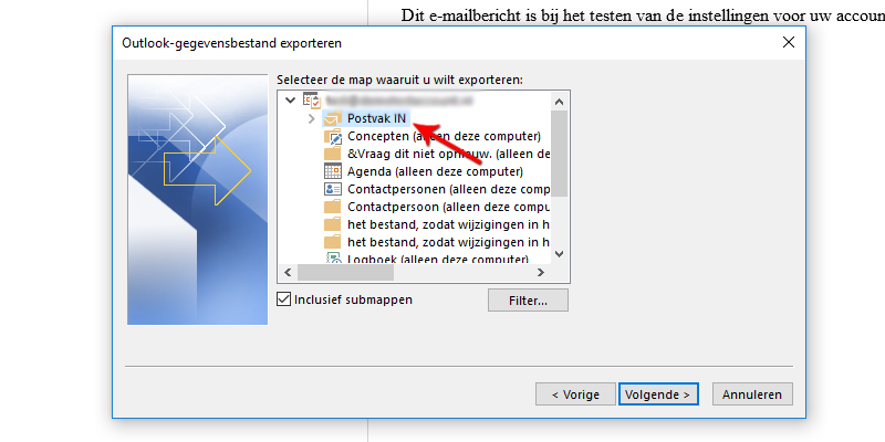 Map exporteren Microsoft Outlook