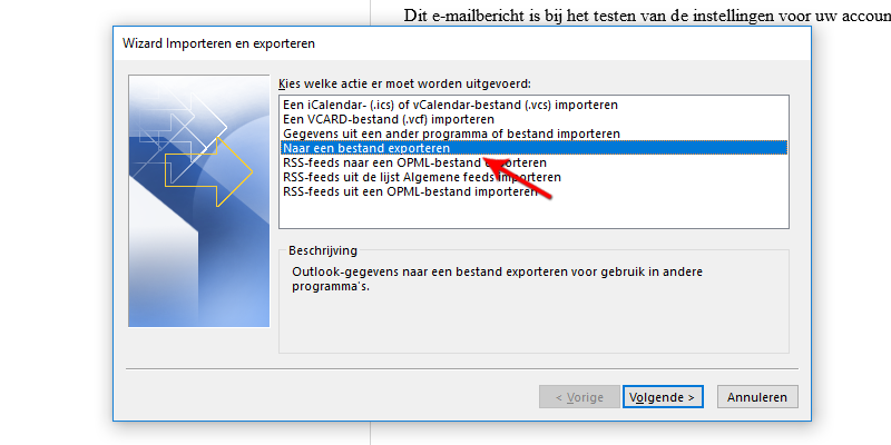 Naar een bestand exporteren Microsoft Outlook 2013